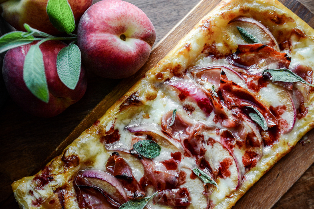 Brie Peach Prosciutto Honey Sage Pastry Pizza with Raspberry Balsamic Reduction | Food Styling and Photography Ashley Halas Photography Hamilton New Jersey